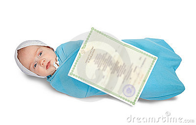Baby with certificate of birth