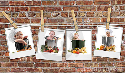 Baby Chefs in Pots Hanging on Film Blanks Against