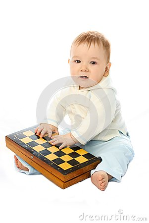 Baby with a chessboard