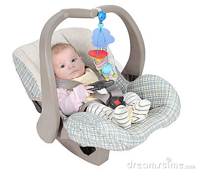 Baby in child car seat