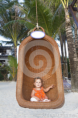 Baby child on tropical beach