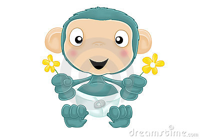 Baby chimp with flowers no background