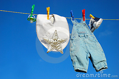 Baby clothes on clothesline