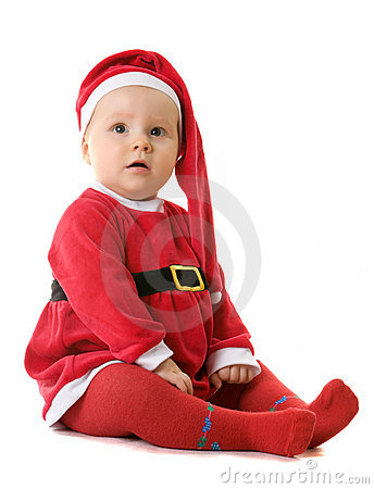 Baby in the clothes of Santa Claus.
