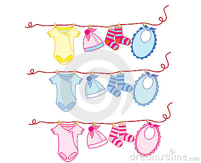 Baby clothes on a wire