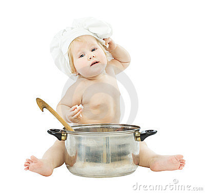 Baby cook in chef hat with big pot