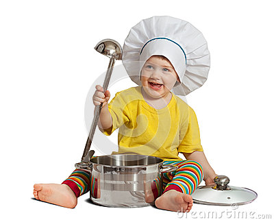 Baby cook in toque with  pan