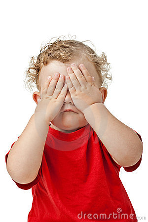 Free Baby Covering Eyes With Hands Playing Peek-a-boo Stock Photos - 16047593