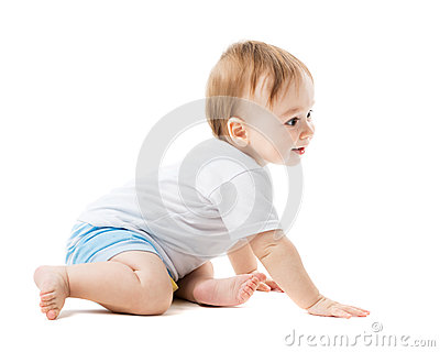 Baby crawling with curiosity