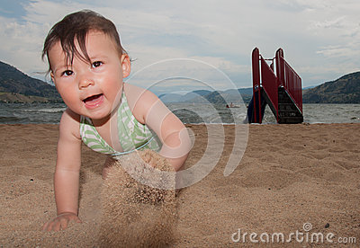 Baby Crawling on Sand