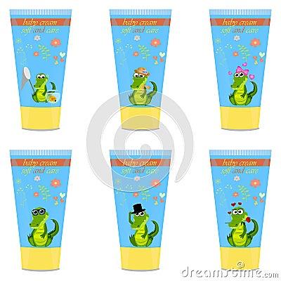 Baby cream tube with kids design Vector Illustration