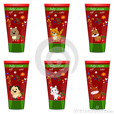 Baby cream tube with kids design Vector Illustration