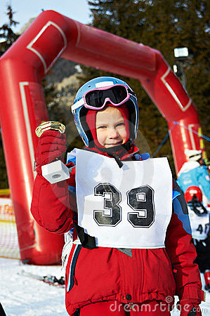 Baby cup champion skier