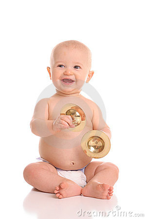 Baby cymbal player portrait