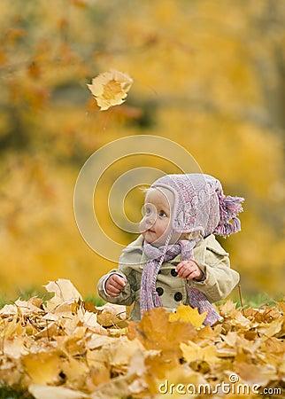 Baby in de herfstbladeren