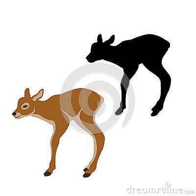 Baby deer vector illustration black silhouette Vector Illustration