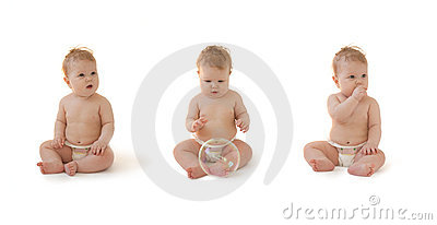 Baby in diaper sitting isolated collection