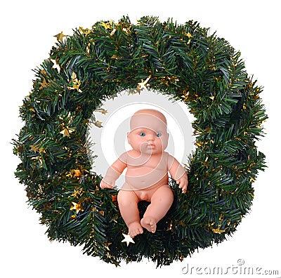Free Baby Doll Angel Boy Sitting On Christmas Wreath Stock Photo - 44810230