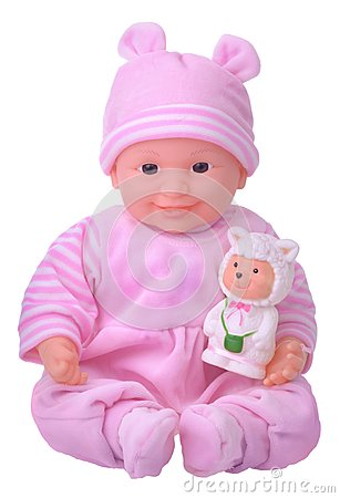 Free Baby Doll In Pink Dress Stock Images - 46174584