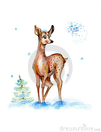 Baby drawing deer