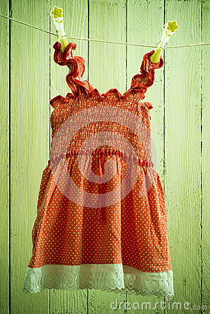 Free Baby Dress On A Rope Stock Photography - 64629182