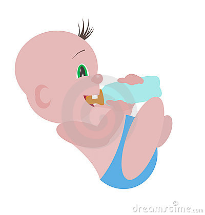 Baby drink milk illustration
