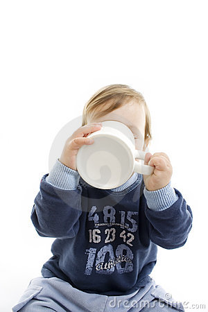 Baby drinking with big cup
