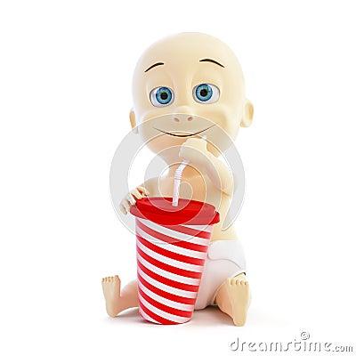 Baby drinking soda