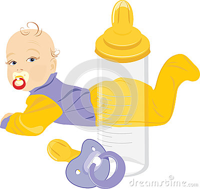 Baby, dummy and milk bottle isolated on the white