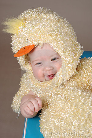 Baby in easter chick costume