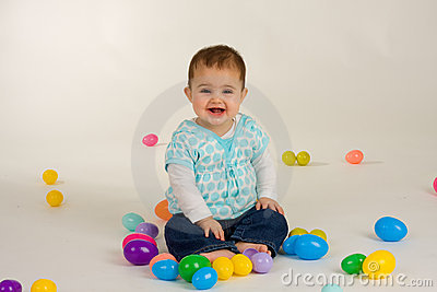 Baby and Easter Eggs