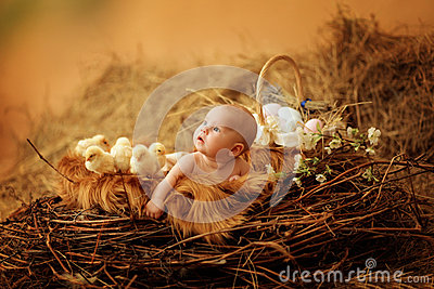 Baby in Easter nest