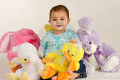 Baby with Easter Stuffed Animals