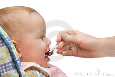 Baby eat on isolated background