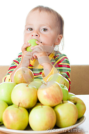 Free Baby Eating Apple Royalty Free Stock Image - 28595666