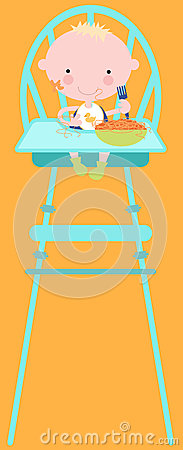 Baby Eating Food in High Chair