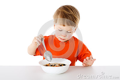 Baby eating the oatmeal