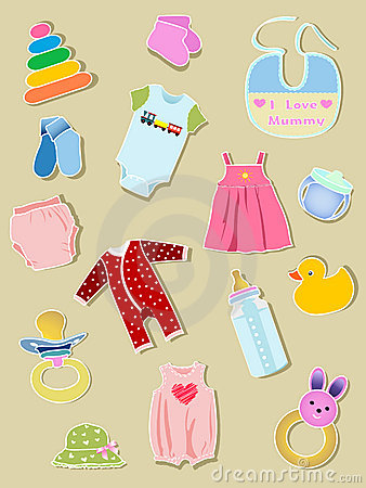 Free Baby Elements, Clothes And Illustration. Royalty Free Stock Photo - 13901345