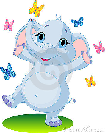 Free Baby Elephant Dancing With Butterflies Royalty Free Stock Photos - 13982188