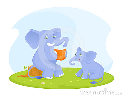 Baby elephant enjoying reading time with parent