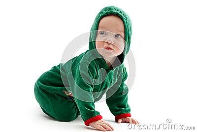 Baby in elf-costume