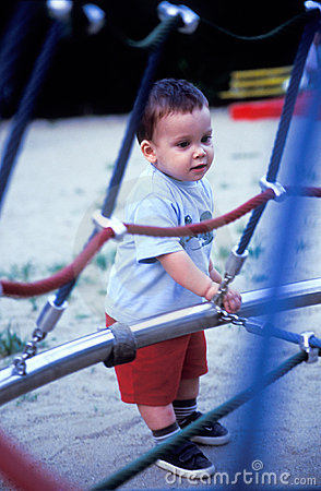 Baby eploring the playground
