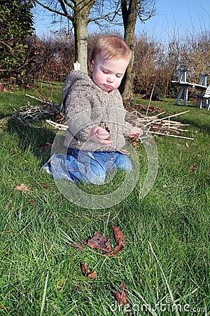 Baby explore garden