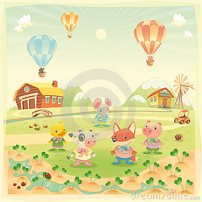 Baby farm animals in the countryside.