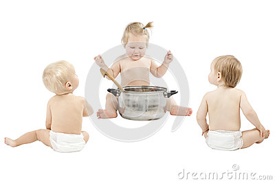 Baby feeding friends over white