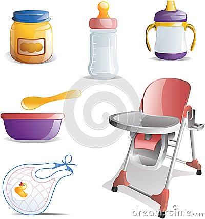 Free Baby Feeding Icon Set Stock Photography - 16107442