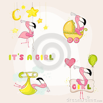 Free Baby Flamingo Set - Baby Shower Or Arrival Card Stock Photography - 79170122