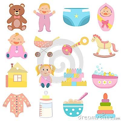 Free Baby Flat Icons Set. Royalty Free Stock Photos - 126659308