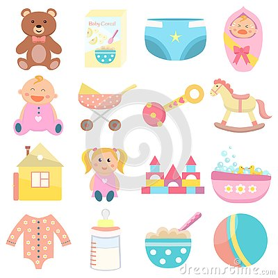 Free Baby Flat Icons Set. Stock Image - 126659321