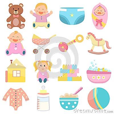 Free Baby Flat Icons Set. Stock Images - 126659324